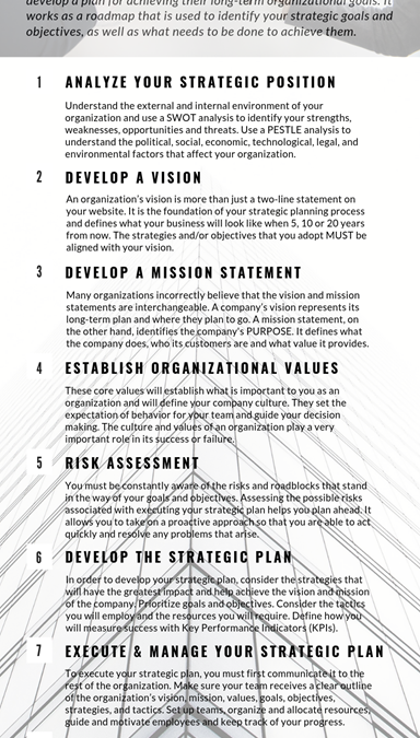 Strategic Planning: A Guide For Small Businesses
